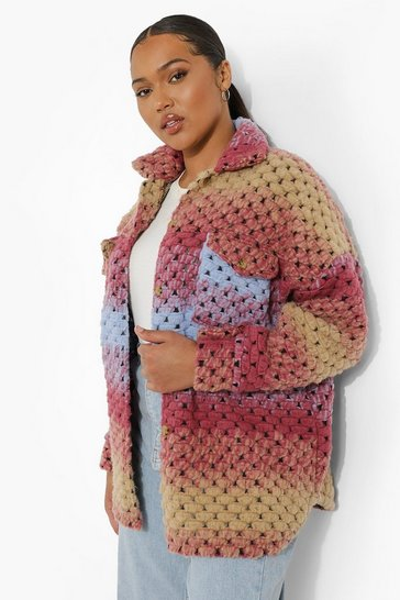 Multi Plus Ombre Knitted Wool Shacket