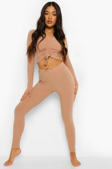 Stone beige Petite Ruched Thumb Hole Top & Legging Set