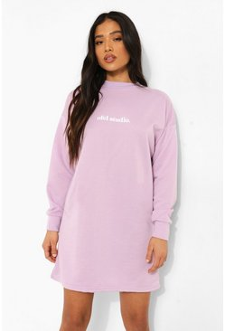 Lilac purple Petite Ofcl Studio Print Sweat Dress