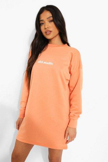 Orange Petite Ofcl Studio Print Sweatshirt Dress