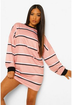 Light pink pink Petite Stripe Oversized T-shirt Dress