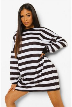 Mono multi Petite Stripe Oversized T-shirt Dress