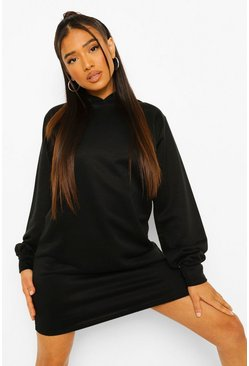Black Petite Balloon Sleeve Hoody Sweat Dress