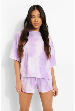 Lilac purple Petite Tie Dye Pj Shorts Set