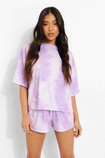 Lilac purple Petite Tie Dye Pj Shorts Set