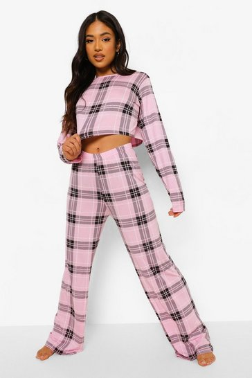 Baby pink pink Petite Check Print Crop Top Pj Trouser Set