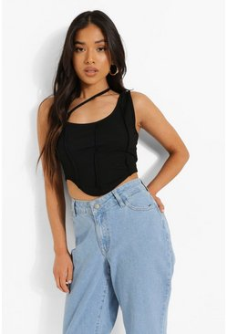 Black Petite Asymmetric Seam Detail Crop Top