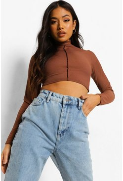 Chocolate Petite Contrast Stitch Lace Back Top