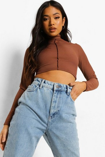 Chocolate brown Brown Petite Contrast Stitch Lace Back Top