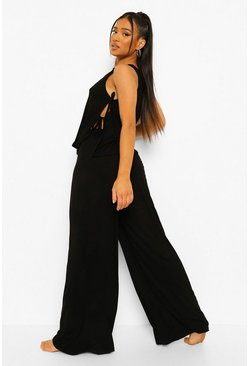 Black Petite Tie Detail Wide Leg Pj Trouser Set