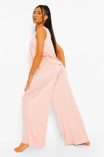 Blush pink Petite Tie Detail Wide Leg Pj Trouser Set