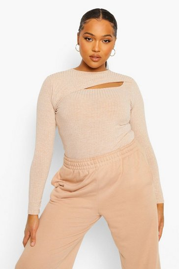 Plus Rib Knitted Cut Out Top