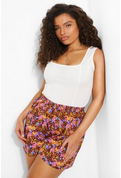 Yellow gul Plus - Blommiga shorts