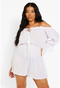 White Plus Cheesecloth Off Shoulder Playsuit