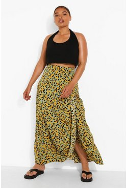 Plus Leopard Ruffle Maxi Skirt