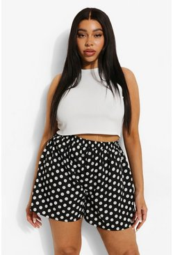 Black  Plus Polka Dot Flippy Short
