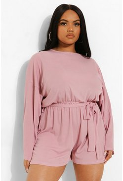 Rose pink Plus Soft Rib Batwing Sleeve Playsuit