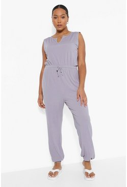 Grey marl grey Plus Rib Notch Front Cuffed Jumpsuit
