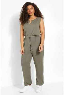 Khaki Plus Rib Notch Front Cuffed Jumpsuit