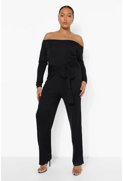 Black Plus Rib Off Shoulder Belted Jumpsuit
