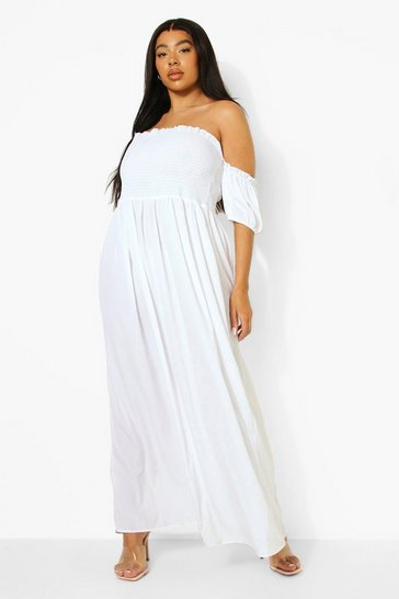 White Plus Woven Shirred Off Shoulder Maxi Dress