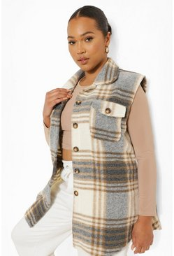 Beige Plus Check Sleeveless Shacket