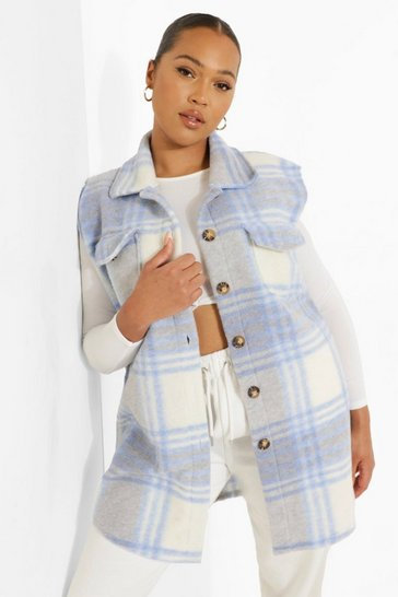 Sky blue Plus Check Sleeveless Shacket