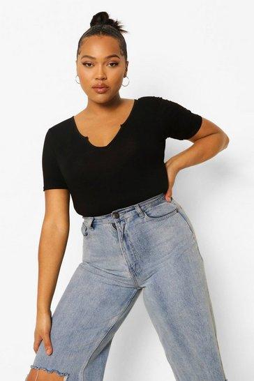 Black Plus Notch Front Short Sleeve Bodysuit