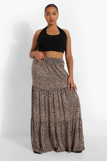 Plus Leopard Jersey Tierred Maxi Skirt