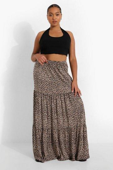 Plus Leopard Jersey Tiered Maxi Skirt