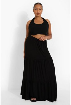 Black Plus Jersey Tierred Maxi Skirt