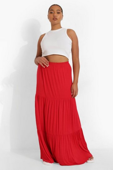 Red Plus Jersey Tierred Maxi Skirt