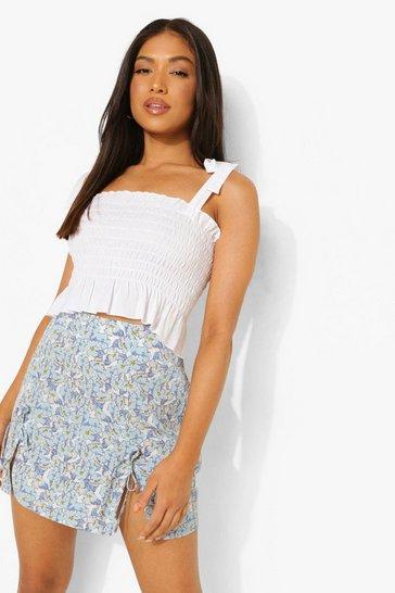 Blue Petite Tie Detail Split Woven Mini Skirt