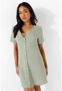 Sage green Petite Woven Button Detail Shift Dress
