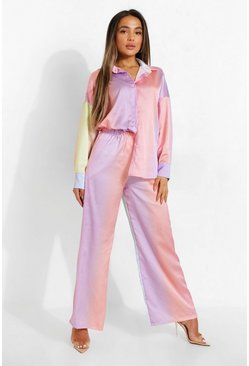 Petite - Pantalon large satiné, Pink rose