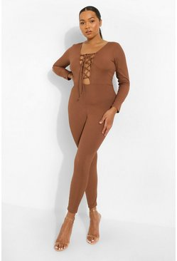 Plus Rib Lace Up Plunge Jumpsuit, Chocolate braun