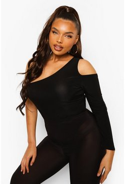 Black Plus Slinky One Shoulder Bodysuit