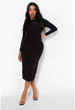 Black Plus Slinky Cut Out Midaxi Dress