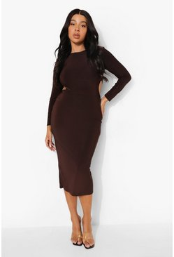 Chocolate brown Plus Slinky Cut Out Midaxi Dress