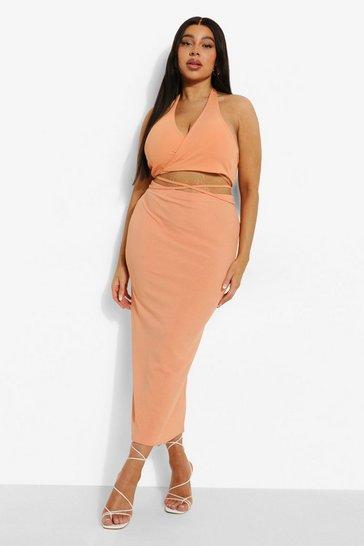 Orange Plus Rib Midaxi Skirt