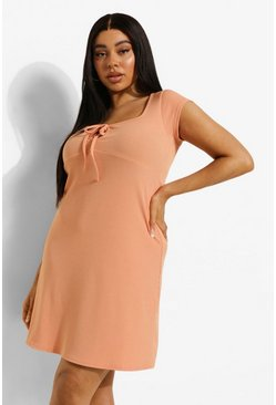 Orange Plus Tie Front Sundress