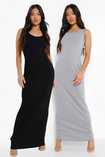 Black Petite Scoop Neck Maxi Dress 2 Pack