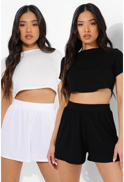 Black_white Petite Jersey Flippy Short 2 Pack