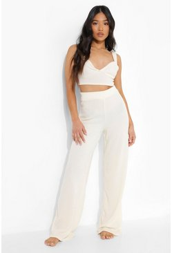 Cream Petite Ribbed Bralet And Wide Leg Lounge Set