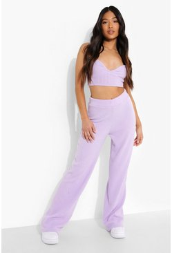 Lilac purple Petite Ribbed Bralet And Wide Leg Lounge Set