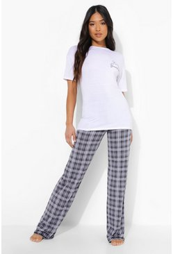 Grey marl Petite Hello Beautiful Pj Trouser Set