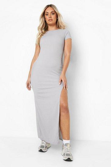 Grey Plus Cap Sleeve Split Maxi Dress