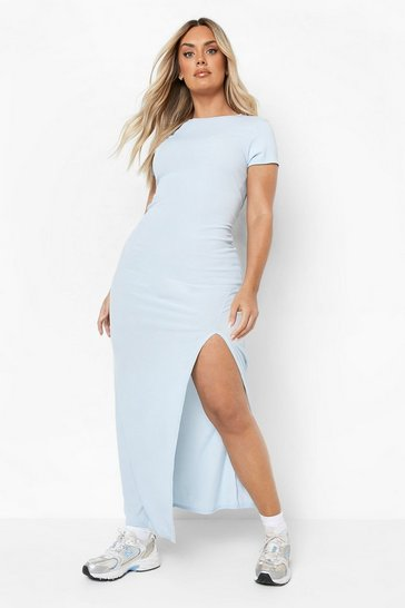 Light blue blue Plus Cap Sleeve Split Maxi Dress