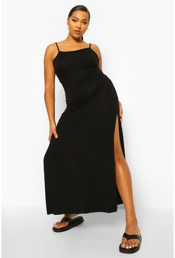Black Plus Strappy Side Split Maxi Dress