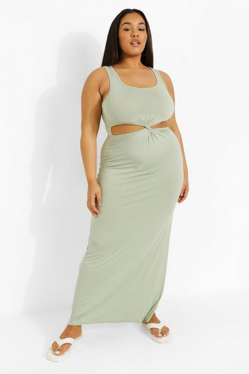 Sage green Plus Cut Out Twist Front Maxi Dress